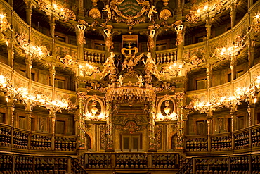 Interior view of Margrave's Opera House, a Baroque opera house, Bayreuth, Bavaria, Germany, Europe
