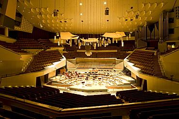 Interior view of Philharmonic orchestra building, at Kemperplatz, architect Hans Scharoun, Berlin, Germany, Europe