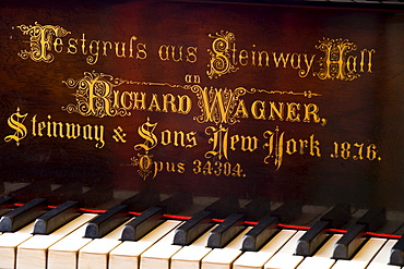 Detail of the piano at Villa Wahnfried, the former residence of Richard Wagner (1813ñ1883), Bayreuth, Bavaria, Germany, Europe