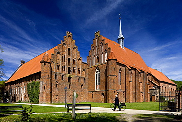 Wienhausen Convent under blue sky, former Cistercian nunnery is today an evangelical abbey, Wienhausen, Lower Saxony, Germany, Europe