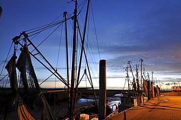 Shrimp trawlers in the harbour, Spieka near Nordholz, North Sea coast of Lower Saxony, Germany