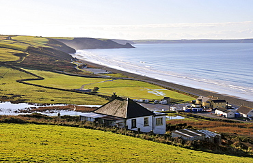 Farm along the coast near Newgale in the Pembrokeshire Coast National Park, south-Wales, Wales, Great Britain