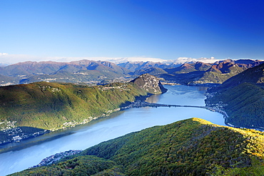 Lake Lugano with Ticino range in background, Monte San Giorgio, UNESCO World Heritage Site Monte San Giorgio, lake Lugano, Ticino range, Ticino, Switzerland, Europe