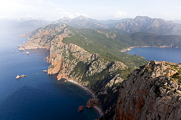 View along the coast Hike to Capo Rosso between Porto and Cargese, view from the Tower of Turghio, Mediterranean Sea, Porto, Corsica, France