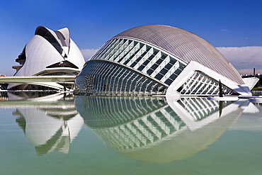 Hemisferic, Imax Cinema, Planetarium and Laserium. Built in the shape of the eye and Palau de les Arts, City of Arts and Sciences, Cuidad de las Artes y las Ciencias, Santiago Calatrava (architect), Valencia, Spain