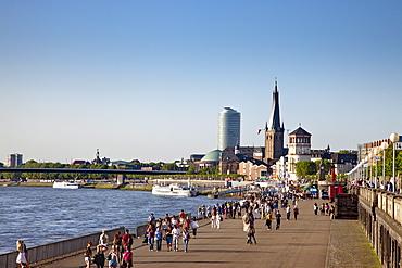 People at Rhine promenade, Duesseldorf, Duesseldorf, North Rhine-Westphalia, Germany, Europe