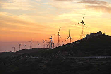 Wind energy plant, Strait of Gibraltar, Tarifa, Andalusia, Spain