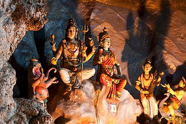 Hindu shrine in the main cavern of Batu-Caves, north of Kuala Lumpur, Malaysia, Asia