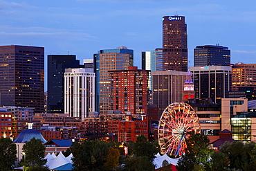 Skyline and Elitch garden amusement park, Denver, Colorado, USA