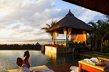 Master suite of the Shanti Maurice Resort in the light of the evening sun, Souillac, Mauritius, Africa