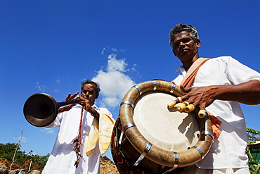 Musicians at Hindu festival in Cap Malheureux, Mauritius, Africa
