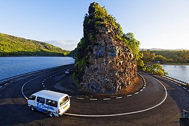 Hair-pin bend around a rock in Baie du Cap, Mauritius, Africa