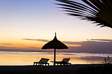 Deserted beach of the Shanti Maurice Resort at sunset, Souillac, Mauritius, Africa