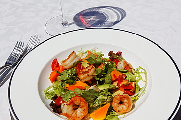 Salad with scampi at the restaurant of Shanti Maurice Resort, Souillac, Mauritius, Africa