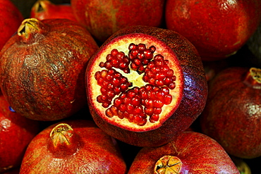 Close up of pomegranates, Market hall, Port Louis, Mauritius, Africa