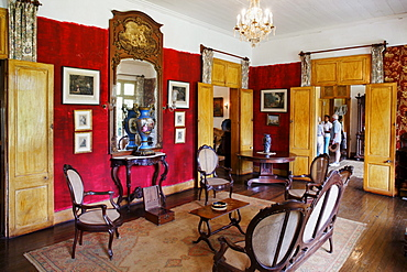 Interior view of the colonial creole villa Eureka in Moka, Mauritius, Africa