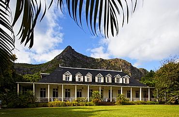 Colonial creole villa Eureka under clouded sky, Moka, Mauritius, Africa