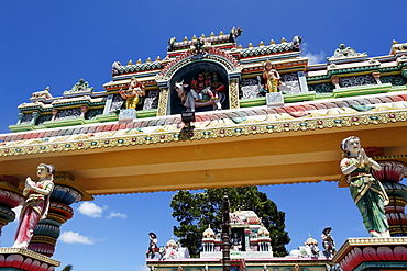 Statues at an indian temple at Pereybere, Mauritius, Africa