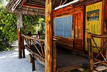 Traditional beach houses at Santa Maria Coral Park Hotel on the beach, Pongwe, Zanzibar, Tanzania, Africa