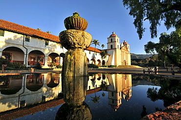 Pond in front of mission of Santa Barbara at Highway 1, Pacific rim, California, USA, America