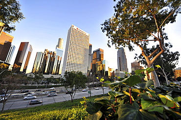 View of high rise buildings at downtown with freeway, Los Angeles, California, USA, America