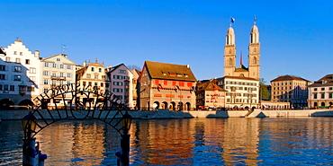 Zurich with Great Minster cathedral, Zurich, Switzerland