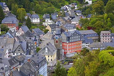 Viewl at Monschau with the Rotes Haus (1756-1765), Eifel, North Rhine-Westfalia, Germany, Europe