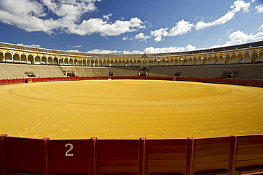 Desered bullfighting arena in the sunlight, Sevilla, Andalusia, Spain, Europe