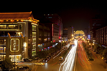 View at night from the City wall of Xi'an, Shaanxi Province, People's Republic of China