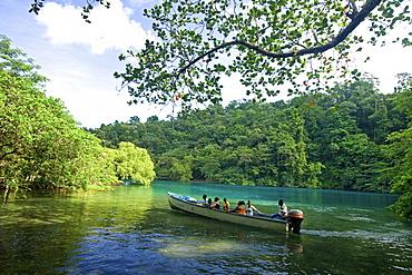 Jamaica Port Antonio Tropical landscape at Blue lagoon, tour boat with tourists