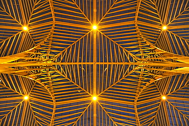 Glass roof of Lisbon Orient Station in the evening, Santiago Calatrava, Lisbon, Portugal, Europe