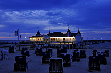 The historical pier Ahlbeck in the evening, Usedom, Mecklenburg-Western Pomerania, Germany, Europe