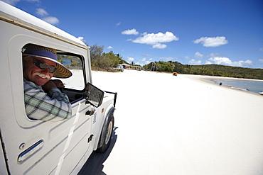 Jeep at Fisherman's beach, western Great Keppel Island, Great Barrier Reef Marine Park, UNESCO World Heritage Site, Queensland, Australia