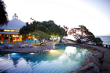 Heron Island Resort at night, western Heron Island, Great Barrier Reef Marine Park, UNESCO World Heritage Site, Queensland, Australia