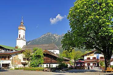Main square of Garmisch with church and big chestnut tree, Garmisch-Partenkirchen, Wetterstein range, Werdenfels, Upper Bavaria, Bavaria, Germany, Europe