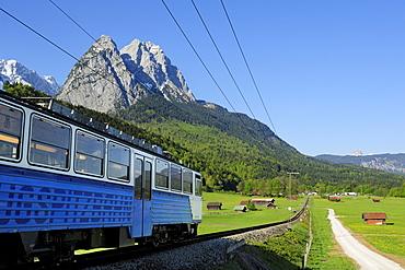 Bavarian cog railway to Zugspitze going towards Zugspitze range with Waxenstein, Garmisch-Partenkirchen, Wetterstein range, Werdenfels, Upper Bavaria, Bavaria, Germany, Europe
