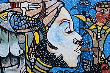 Wall mural of Afro-Cuban woman, Guanabo, Playas del Este, City of Havana, Havana, Cuba