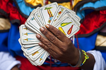 Tools of the trade, Deck of cards from fortune-teller during a Sunday afternoon rumba at Callejon de Hamel, City of Havana, Havana, Cuba