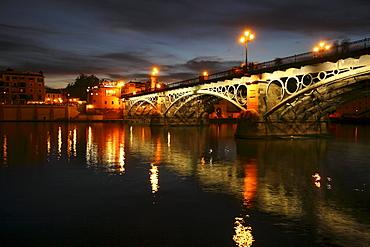 Bridge across the river of Guadalquivir, Seville, Andalusia, Spain