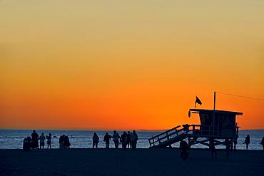 Beach in the sun set light, Santa Monica, California, USA