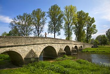 Bridge crossing the Altmuehl river, Ornbau, Altmuehl valley, Franconia, Bavaria, Germany, Europe