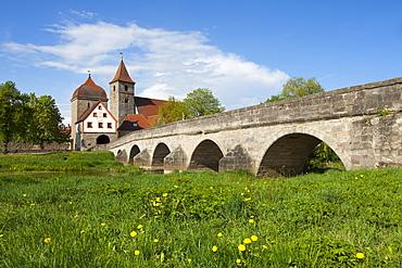 Bridge crossing the Altmuehl river, view of town gate and church, Ornbau, Altmuehl valley, Franconia, Bavaria, Germany, Europe