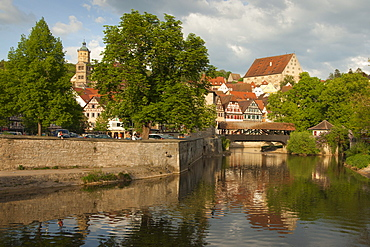 View across the Kocher river to the Old Town, Schwaebisch Hall, Hohenlohe region, Baden-Wuerttemberg, Germany, Europe