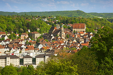 View of the city of Schwaebisch Hall in the sunlight, Hohenlohe region, Baden-Wuerttemberg, Germany, Europe