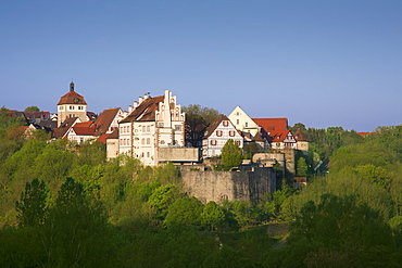 View to the castle and the tower in the sunlight, Vellberg, Hohenlohe region, Baden-Wuerttemberg, Germany, Europe