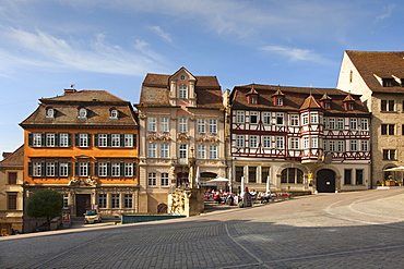 Street cafe and houses at historical marketplace, Schwaebisch Hall, Hohenlohe region, Baden-Wuerttemberg, Germany, Europe