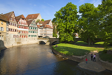 Half-timbered houses at the Kocher river, Schwaebisch Hall, Hohenlohe region, Baden-Wuerttemberg, Germany, Europe
