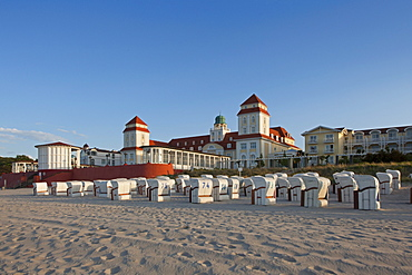 Beach chairs on the beach in front of the Spa Hotel, Binz seaside resort, Ruegen island, Baltic Sea, Mecklenburg-West Pomerania, Germany