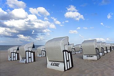 Beach chairs on the beach, Baabe seaside resort, Ruegen island, Baltic Sea, Mecklenburg-West Pomerania, Germany