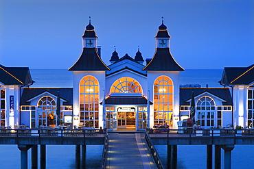 Illuminated pier in the evening, Sellin seaside resort, Ruegen island, Baltic Sea, Mecklenburg-West Pomerania, Germany
